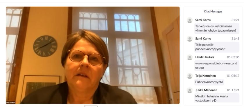 Heidi Hautala tapaamisessa 16.2.2021