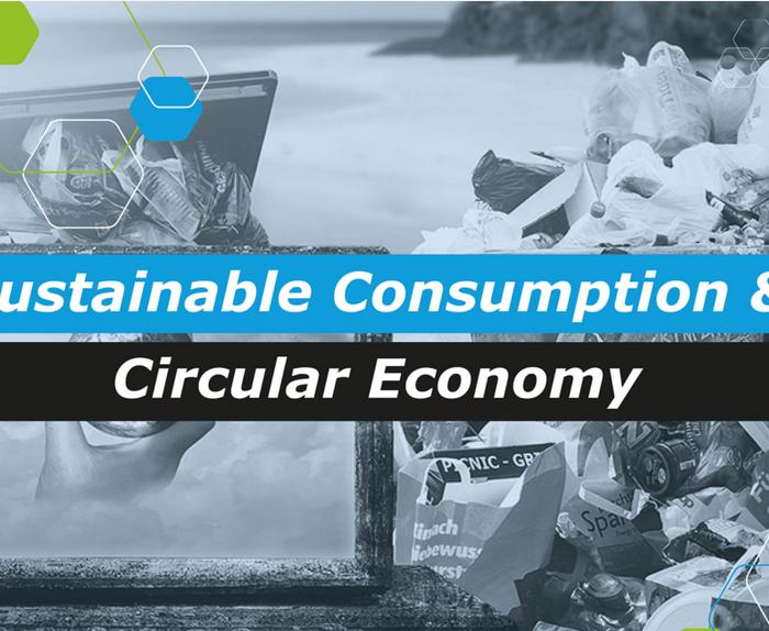 Kuvituskuva: harmaa kuva, jossa erilaisia jätteitä ja taustalla meren ranta. Päällä teksti: Sustainable Consumption & Circular Economy