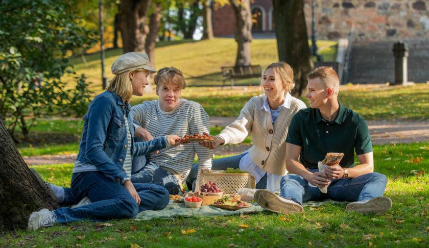 Kuvassa kesäinen vehreä puistonurmi. Neljä nuorta henkilöä istuu piknikillä ja syö eväitä.