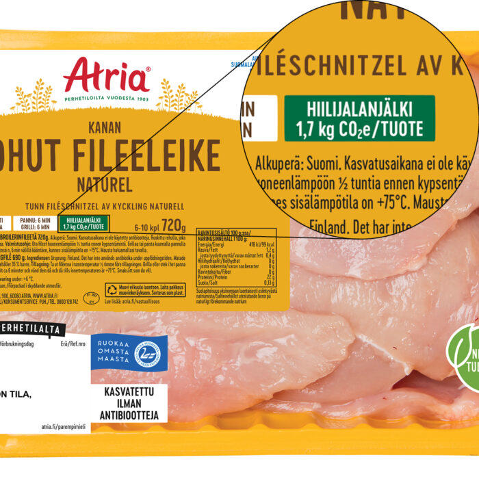 Atria kertoo kanatuotteiden hiilijalanjäljen pakkauksissaan