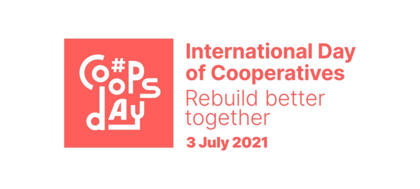 Kansainvälisen osuustoimintapäivän logo. Valkoisella pohjalla punainen coops day logi ja punainen teksti.