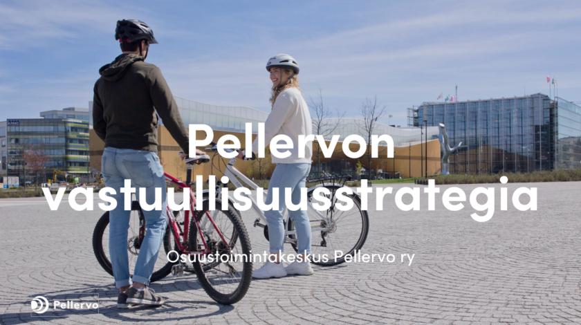 Kuvistuskuva: kesäisessä kaupunkimaisemassa kaksi pyöräilijää seisoo pyöriensä vieressä ja katsovat hymyillen toisiinsa.